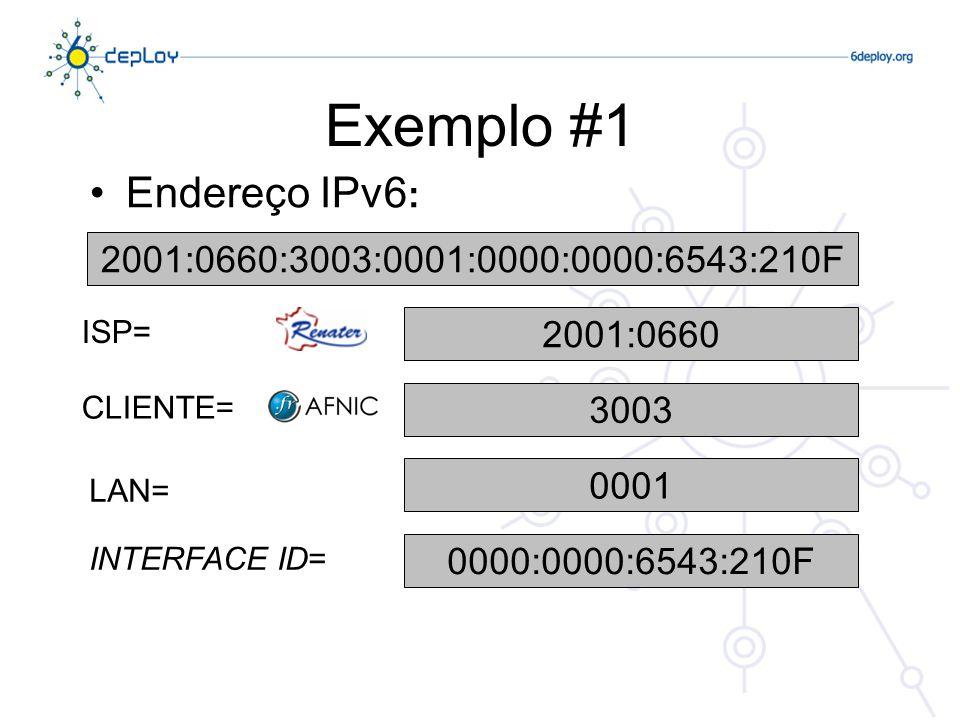 Exemplo #1 Endereço IPv6: 2001:0660:3003:0001:0000:0000:6543:210F