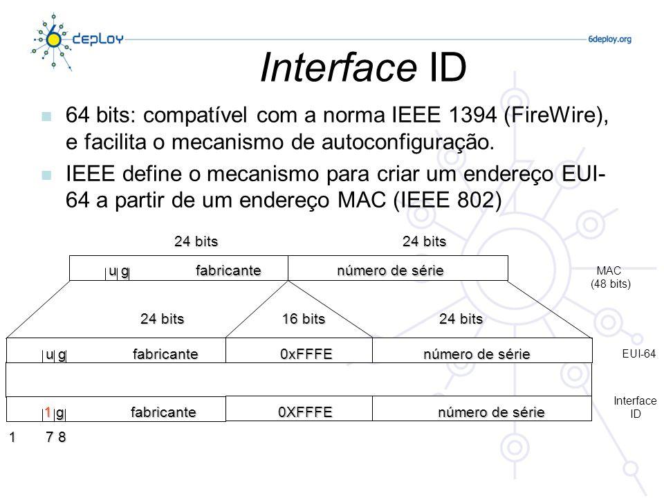 Interface ID 64 bits: compatível com a norma IEEE 1394 (FireWire), e facilita o mecanismo de autoconfiguração.