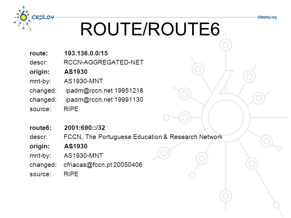 ROUTE/ROUTE6 route: 193.136.0.0/15 descr: RCCN-AGGREGATED-NET