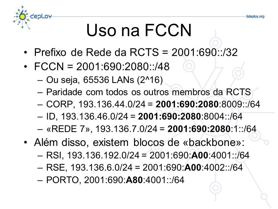 Uso na FCCN Prefixo de Rede da RCTS = 2001:690::/32