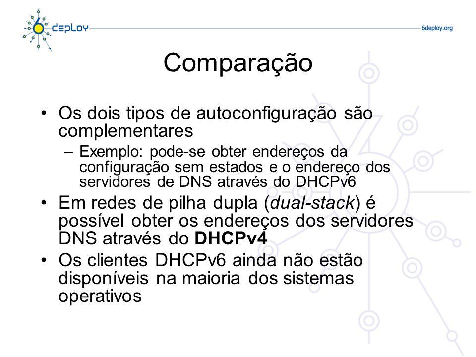 Comparação Os dois tipos de autoconfiguração são complementares