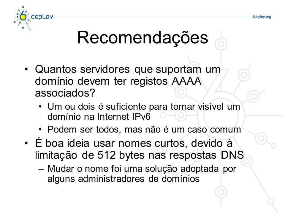 Recomendações Quantos servidores que suportam um domínio devem ter registos AAAA associados
