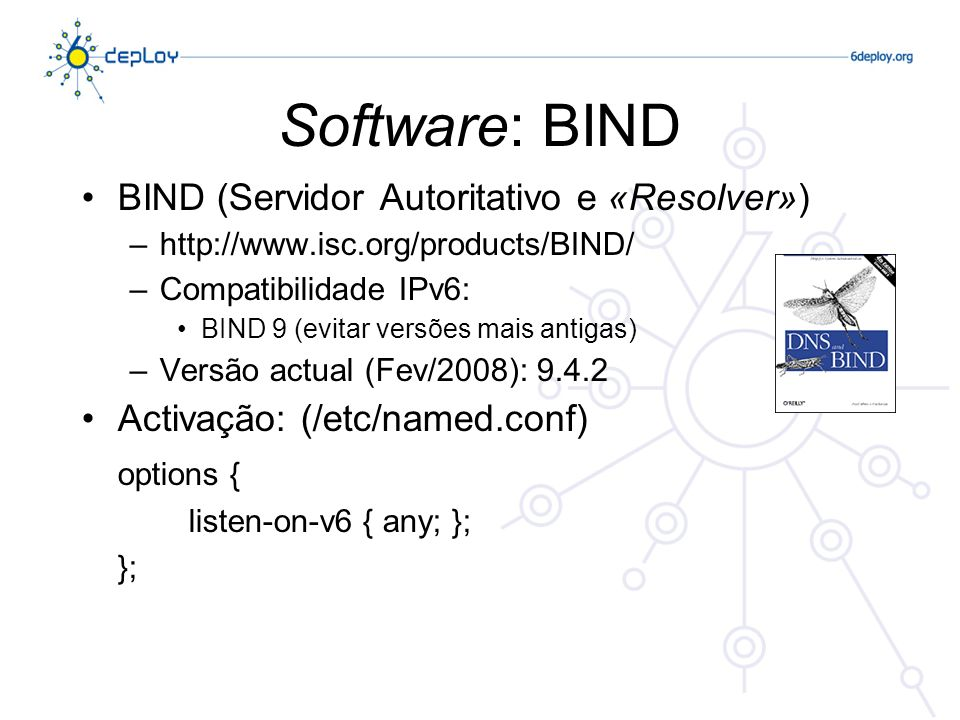 Software: BIND BIND (Servidor Autoritativo e «Resolver»)