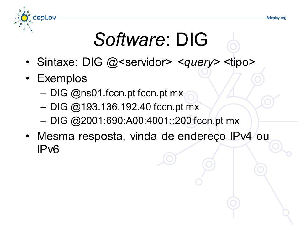 Software: DIG Sintaxe: DIG @<servidor> <query> <tipo> Exemplos. DIG @ns01.fccn.pt fccn.pt mx. DIG @193.136.192.40 fccn.pt mx.