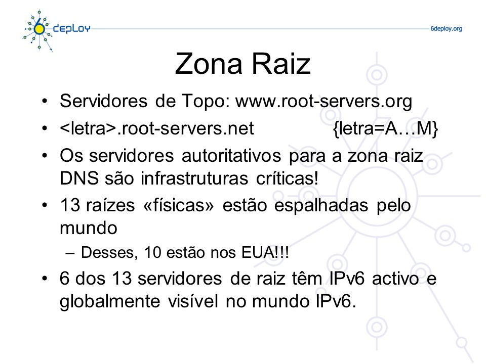 Zona Raiz Servidores de Topo: www.root-servers.org