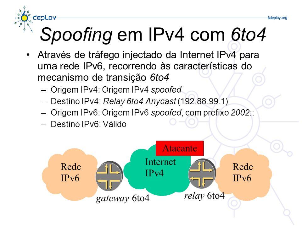 Spoofing em IPv4 com 6to4