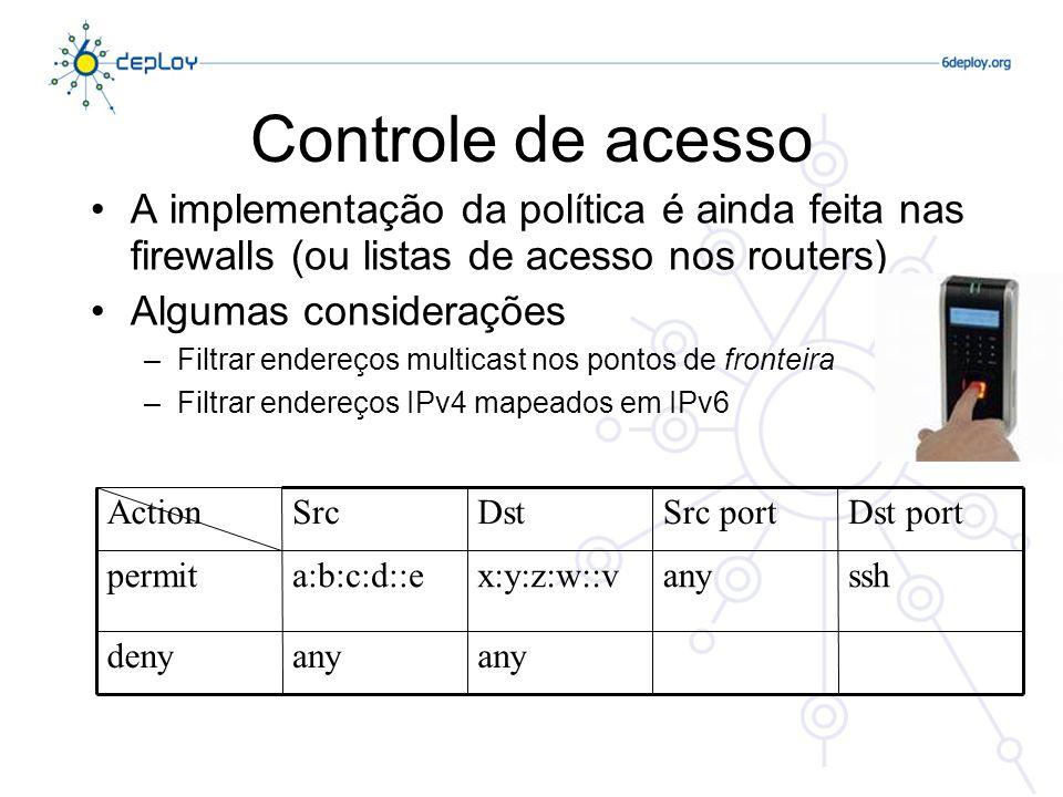 Controle de acesso A implementação da política é ainda feita nas firewalls (ou listas de acesso nos routers)