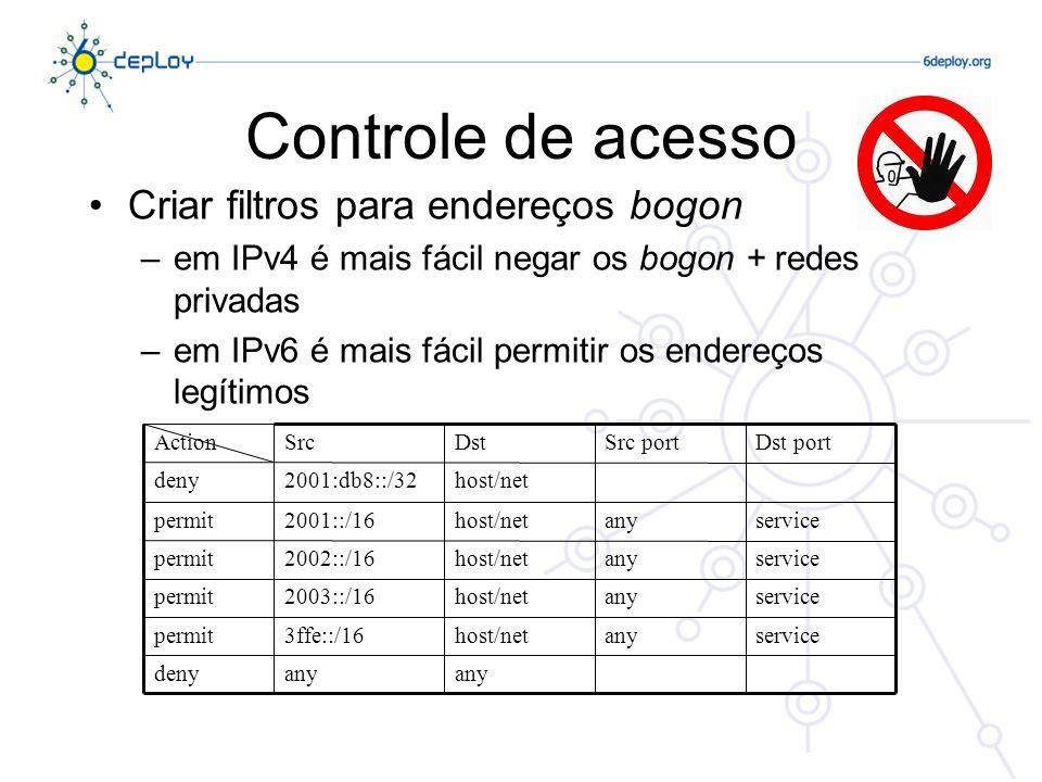 Controle de acesso Criar filtros para endereços bogon