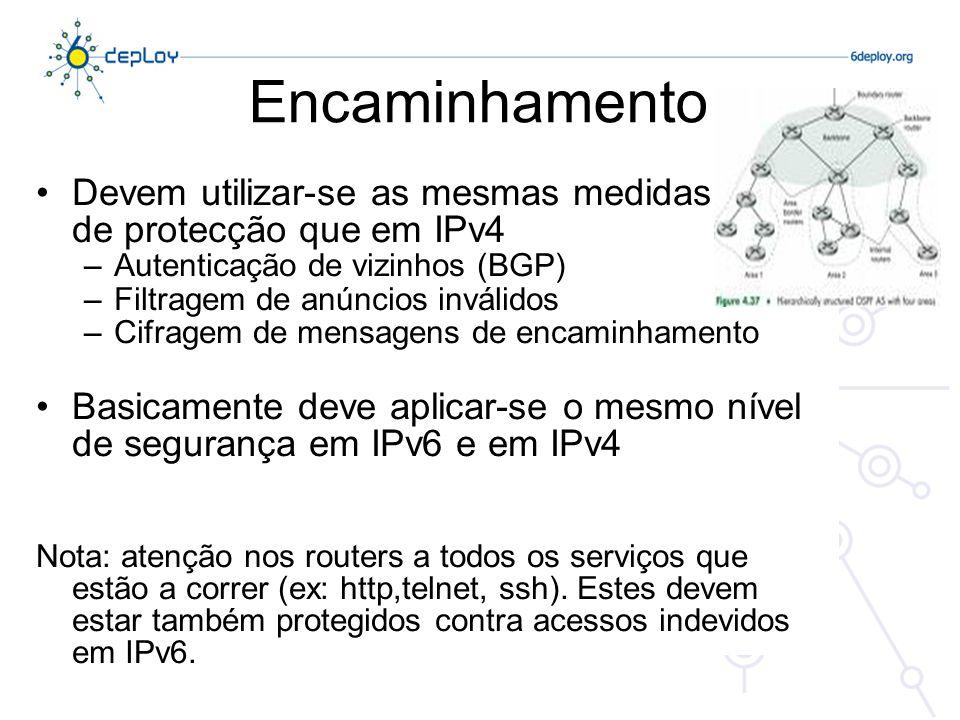 Encaminhamento Devem utilizar-se as mesmas medidas de protecção que em IPv4. Autenticação de vizinhos (BGP)