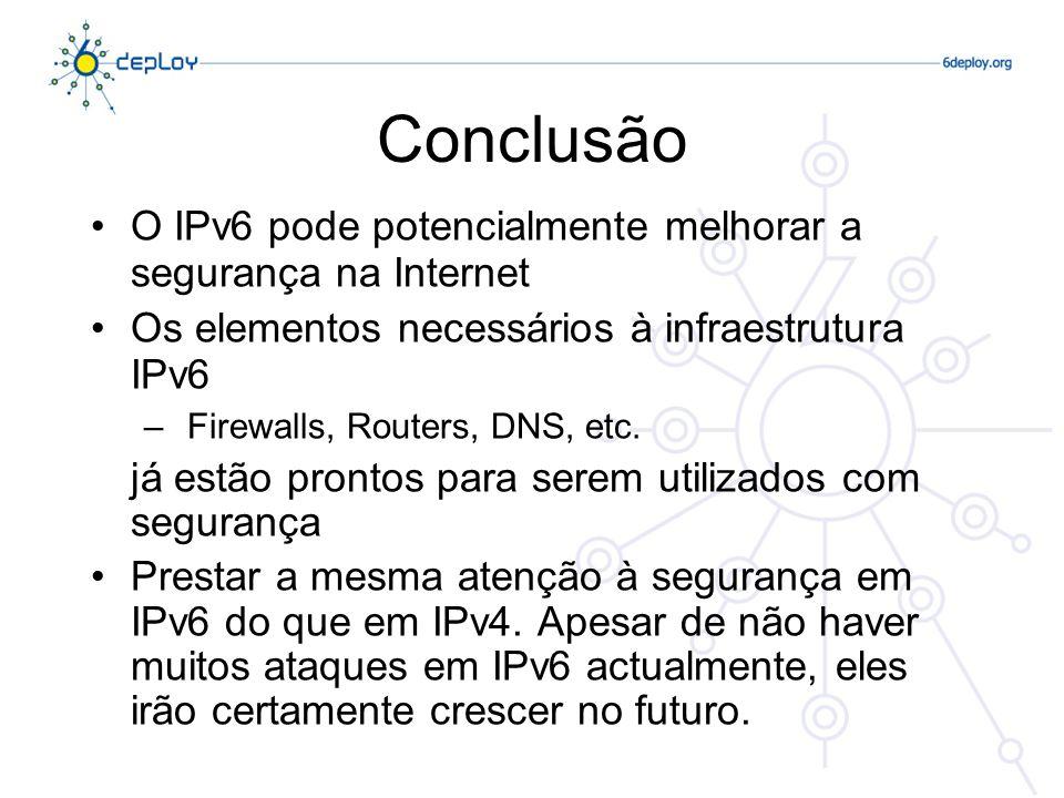 Conclusão O IPv6 pode potencialmente melhorar a segurança na Internet