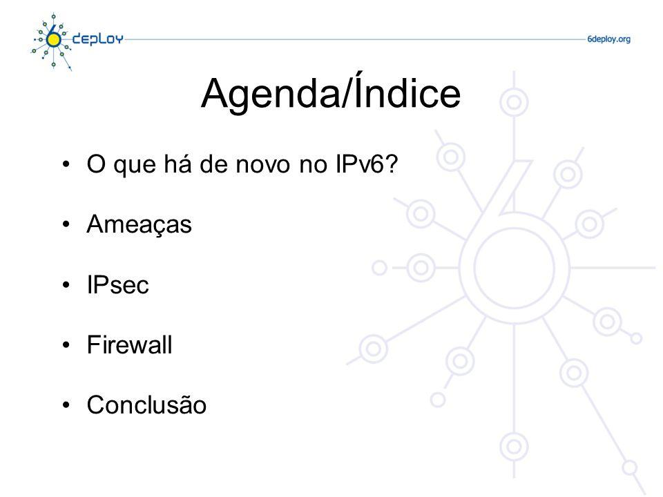 Agenda/Índice O que há de novo no IPv6 Ameaças IPsec Firewall