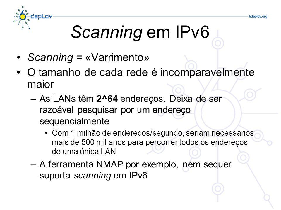 Scanning em IPv6 Scanning = «Varrimento»