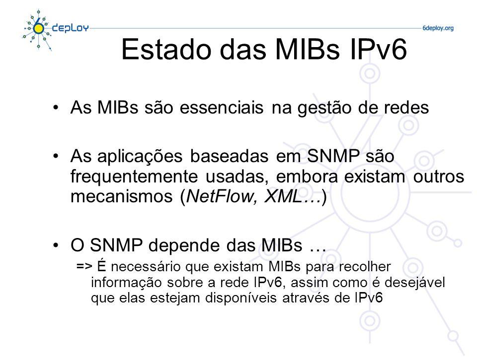 Estado das MIBs IPv6 As MIBs são essenciais na gestão de redes