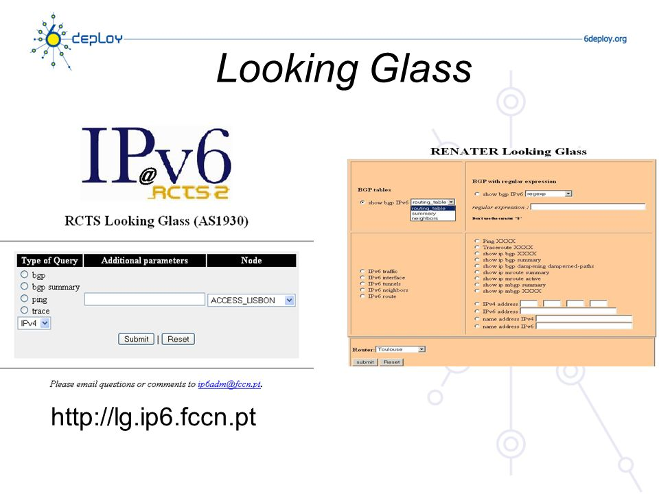 Looking Glass http://lg.ip6.fccn.pt