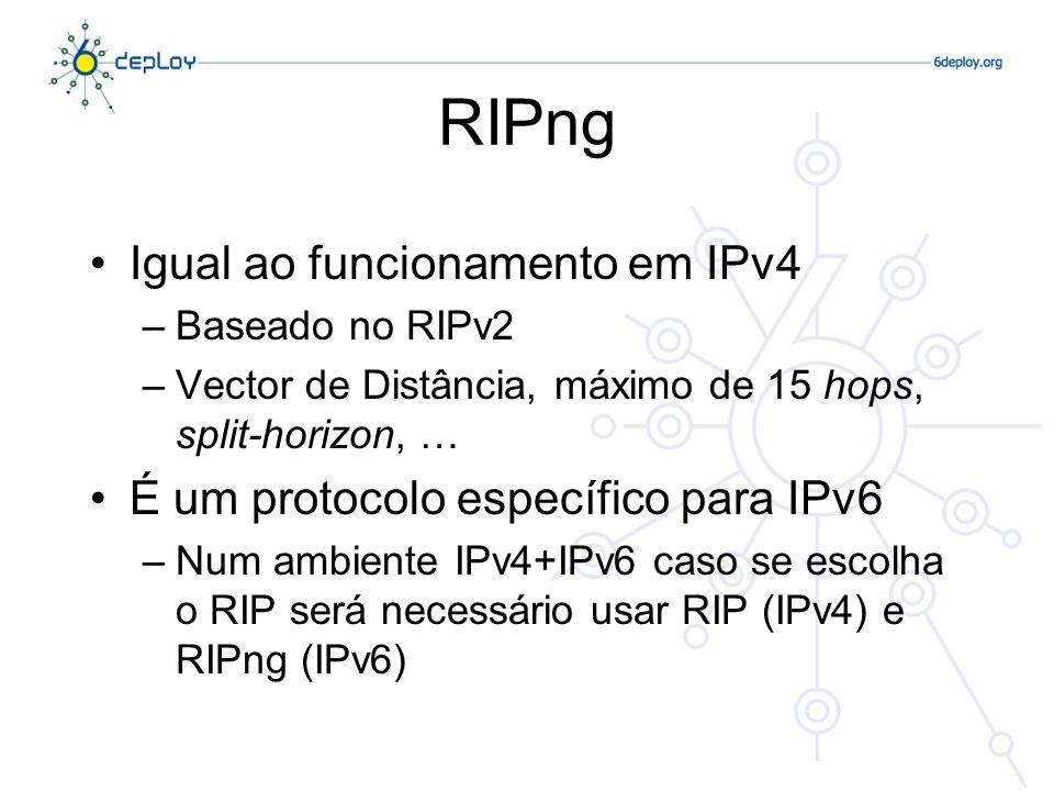 RIPng Igual ao funcionamento em IPv4