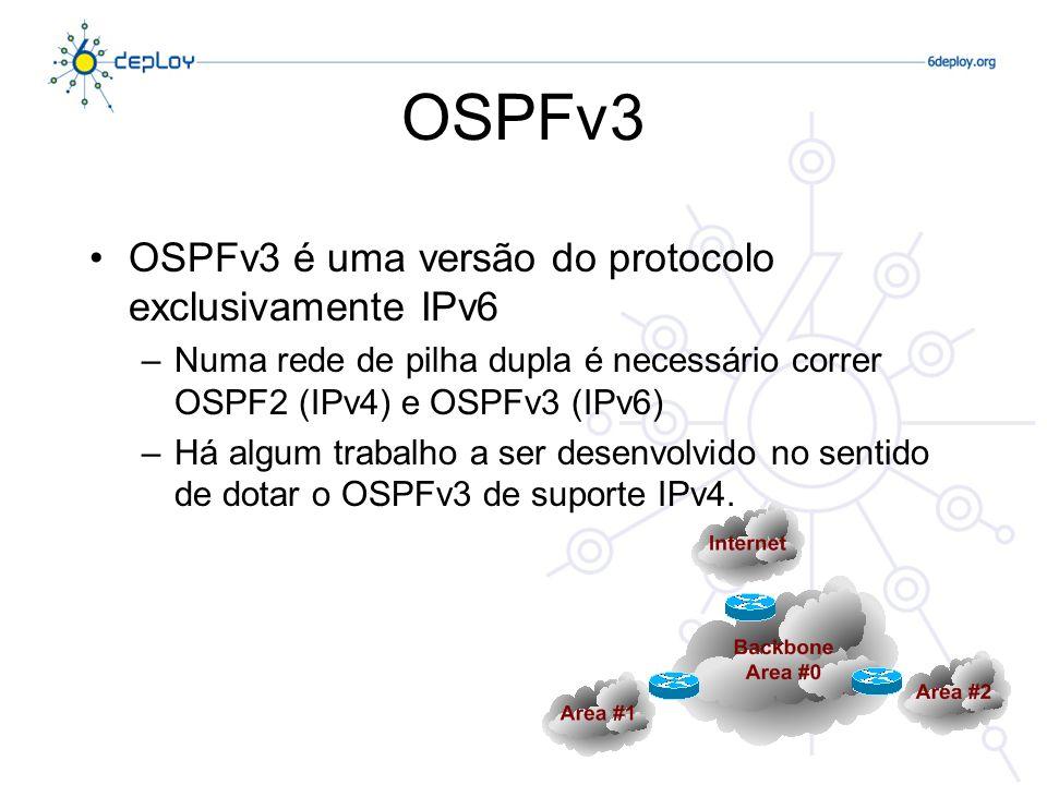 OSPFv3 OSPFv3 é uma versão do protocolo exclusivamente IPv6
