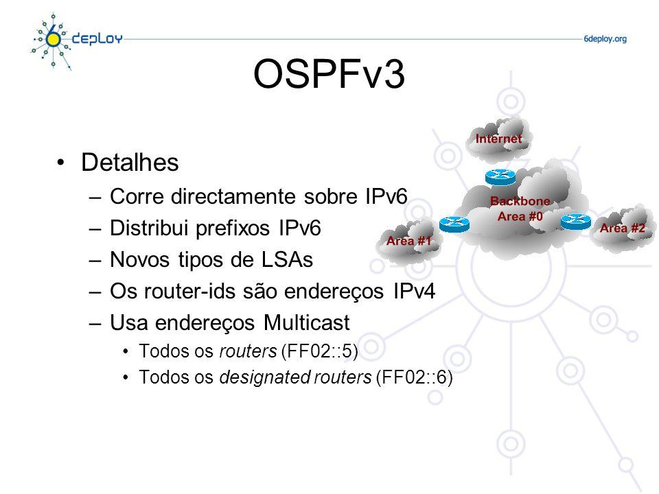 OSPFv3 Detalhes Corre directamente sobre IPv6 Distribui prefixos IPv6