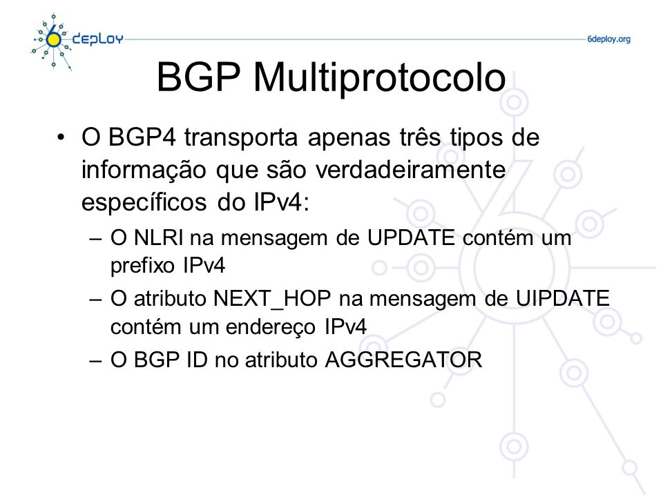 BGP Multiprotocolo O BGP4 transporta apenas três tipos de informação que são verdadeiramente específicos do IPv4: