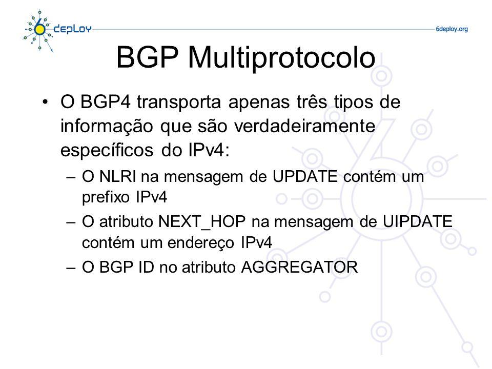 BGP MultiprotocoloO BGP4 transporta apenas três tipos de informação que são verdadeiramente específicos do IPv4: