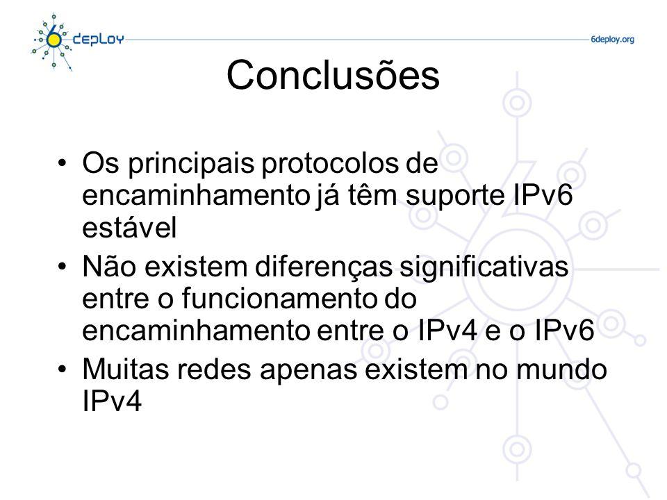 Conclusões Os principais protocolos de encaminhamento já têm suporte IPv6 estável.