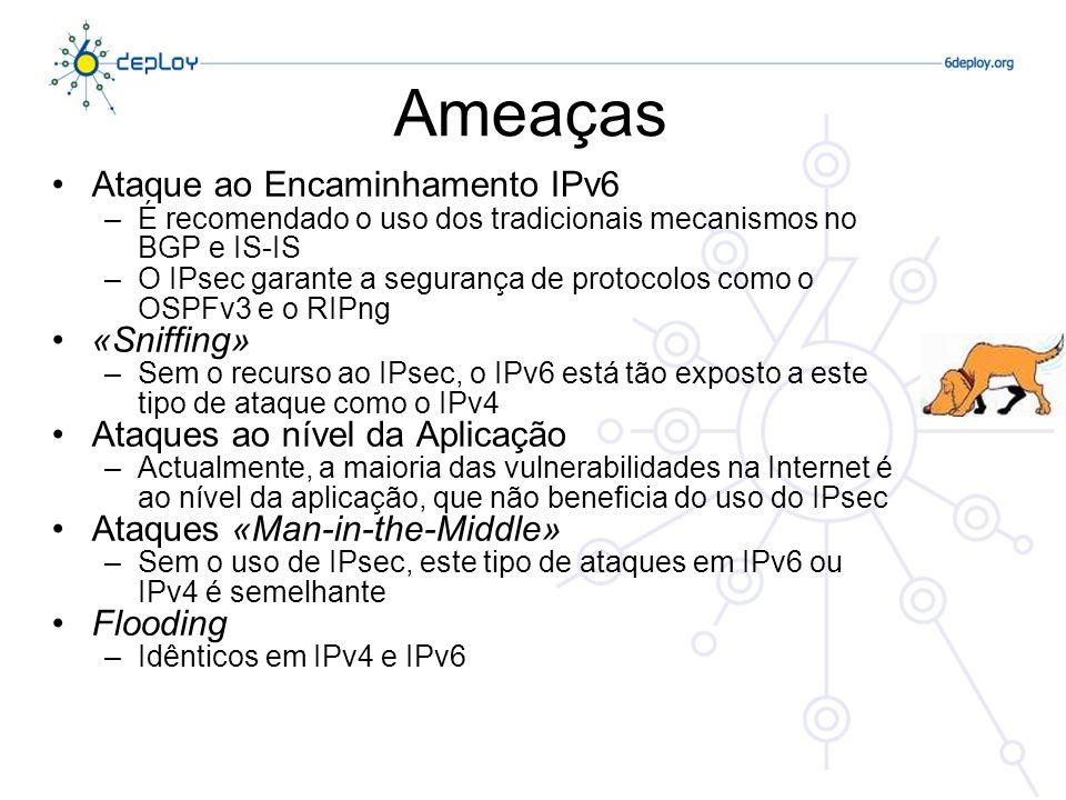 Ameaças Ataque ao Encaminhamento IPv6 «Sniffing»