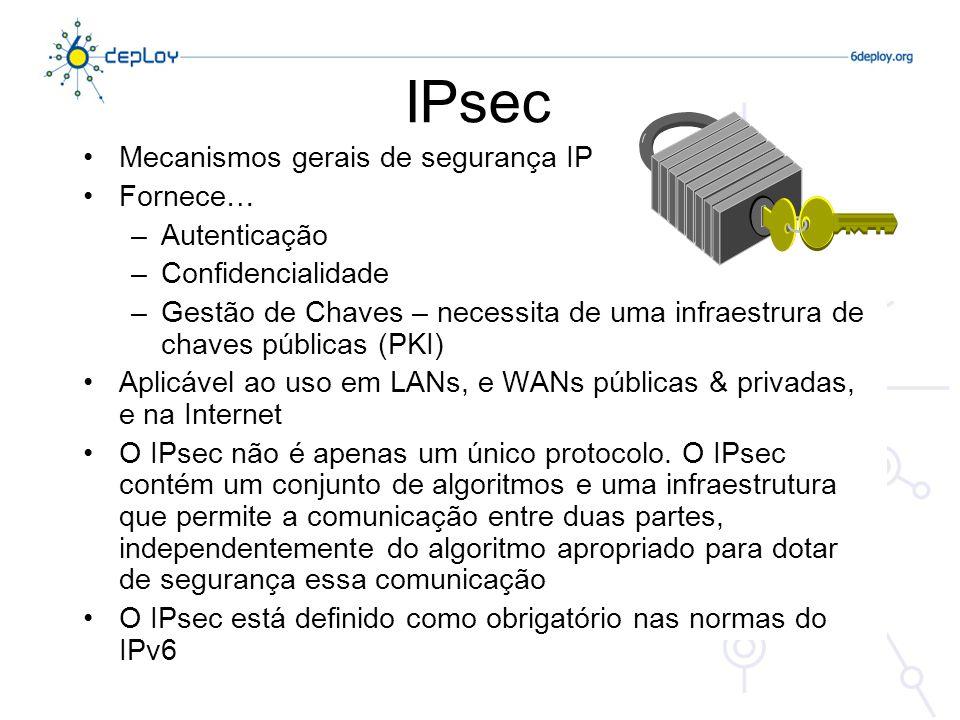 IPsec Mecanismos gerais de segurança IP Fornece… Autenticação