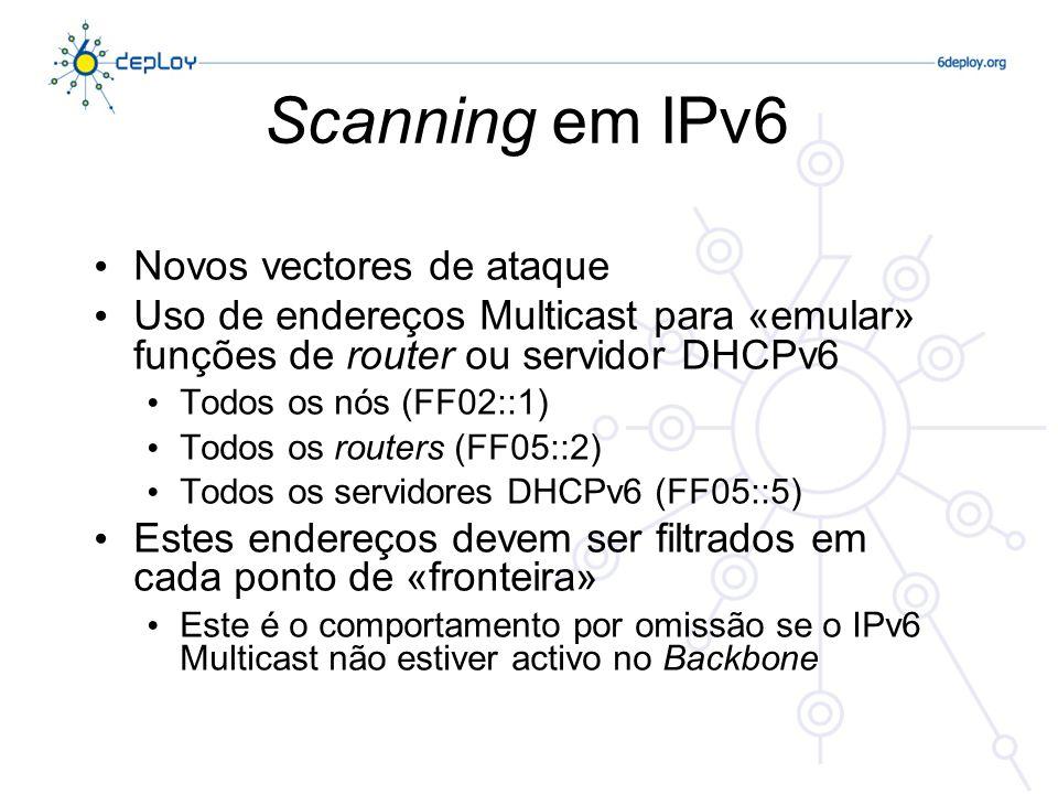 Scanning em IPv6 Novos vectores de ataque