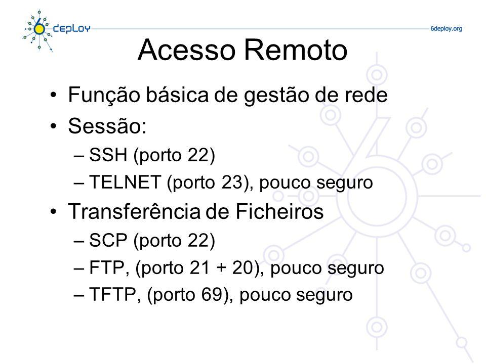 Acesso Remoto Função básica de gestão de rede Sessão:
