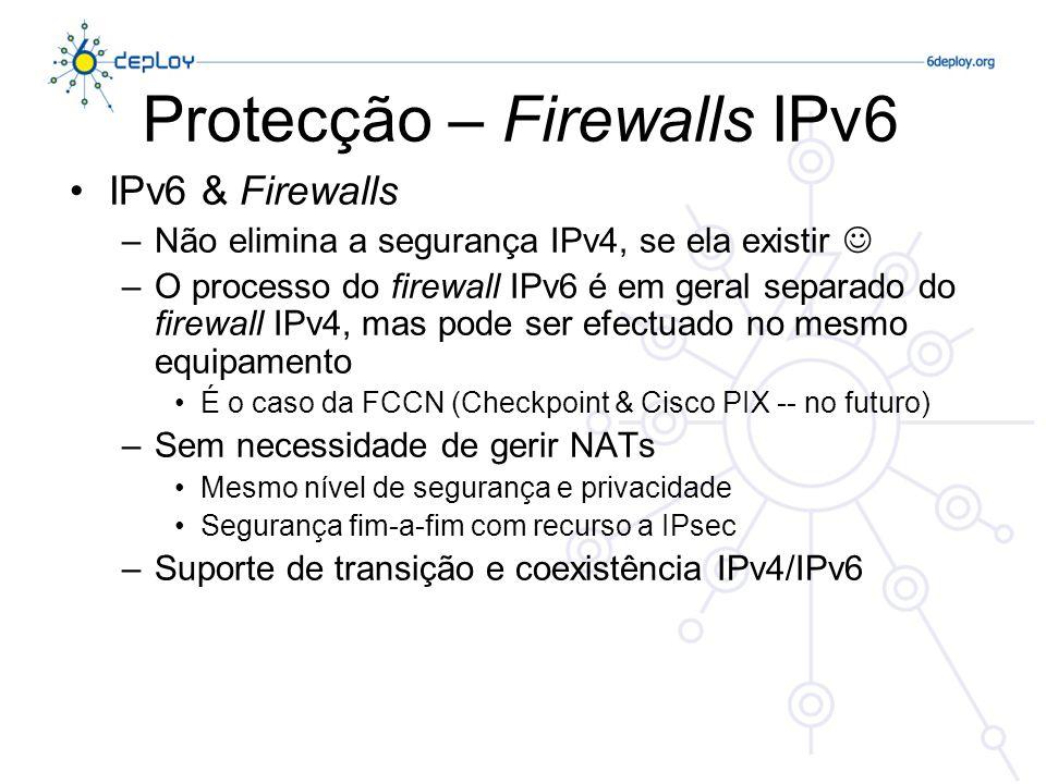 Protecção – Firewalls IPv6
