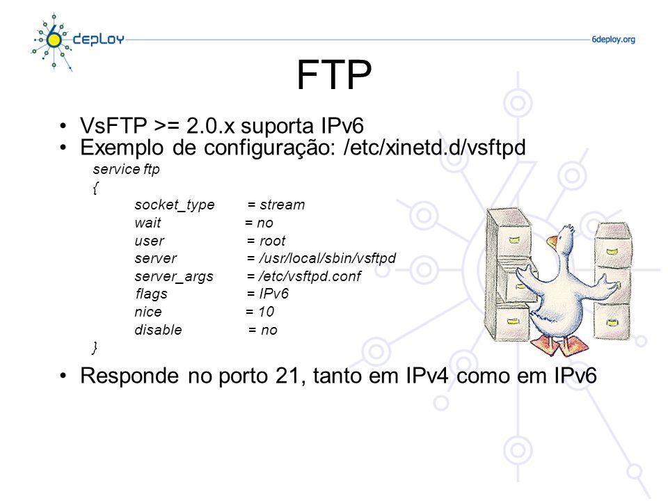 FTP VsFTP >= 2.0.x suporta IPv6