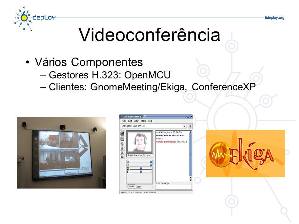 Videoconferência Vários Componentes Gestores H.323: OpenMCU