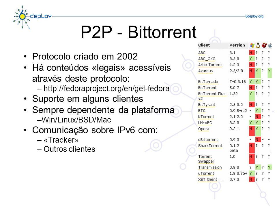 P2P - Bittorrent Protocolo criado em 2002