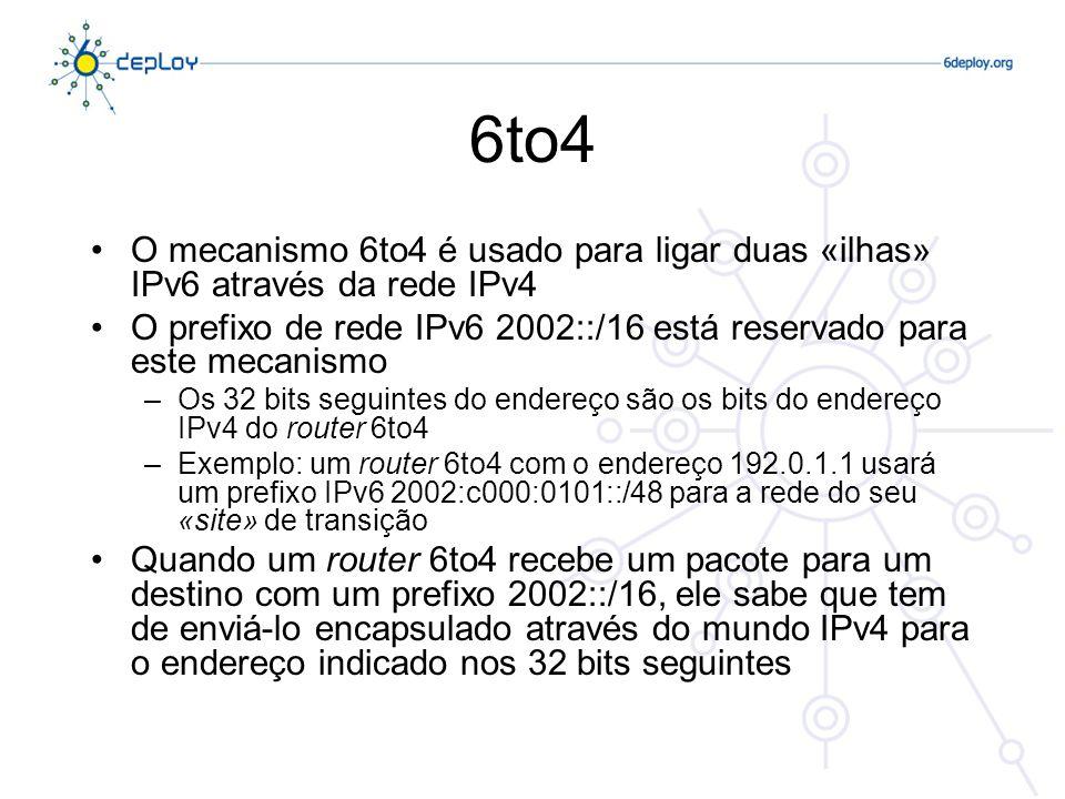6to4 O mecanismo 6to4 é usado para ligar duas «ilhas» IPv6 através da rede IPv4. O prefixo de rede IPv6 2002::/16 está reservado para este mecanismo.