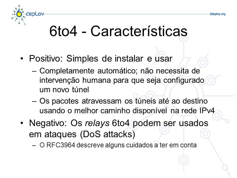 6to4 - Características Positivo: Simples de instalar e usar