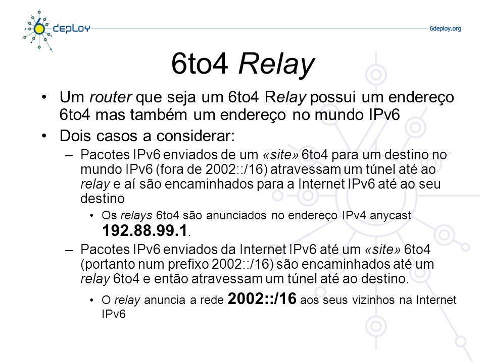 6to4 Relay Um router que seja um 6to4 Relay possui um endereço 6to4 mas também um endereço no mundo IPv6.