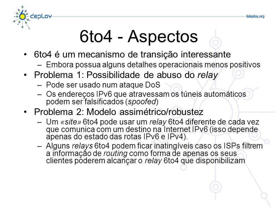 6to4 - Aspectos 6to4 é um mecanismo de transição interessante