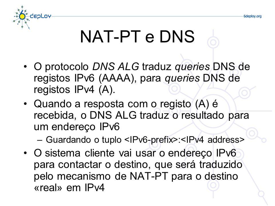 NAT-PT e DNS O protocolo DNS ALG traduz queries DNS de registos IPv6 (AAAA), para queries DNS de registos IPv4 (A).