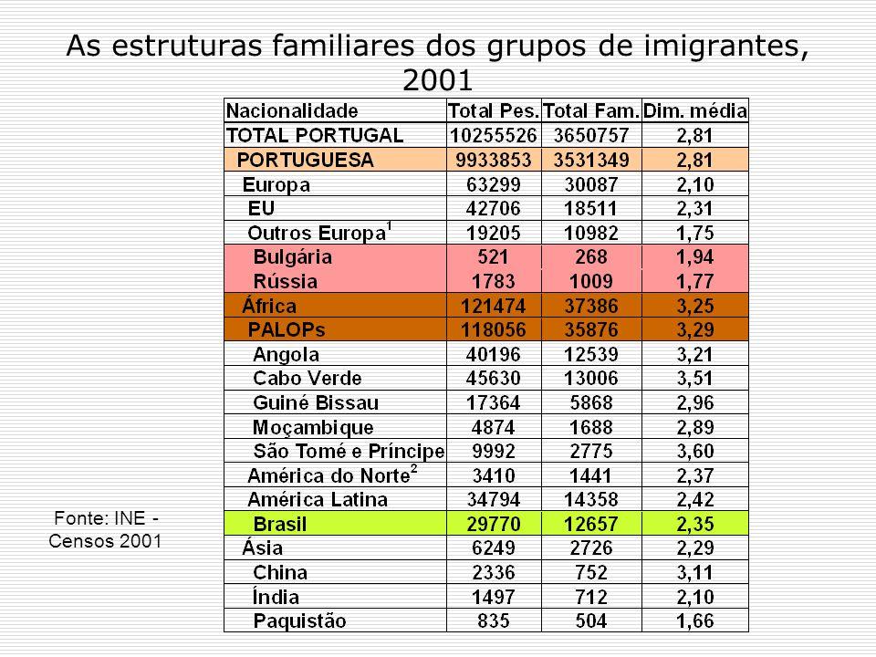 As estruturas familiares dos grupos de imigrantes, 2001