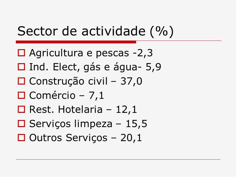 Sector de actividade (%)
