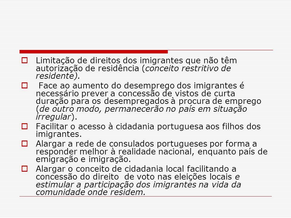 Limitação de direitos dos imigrantes que não têm autorização de residência (conceito restritivo de residente).