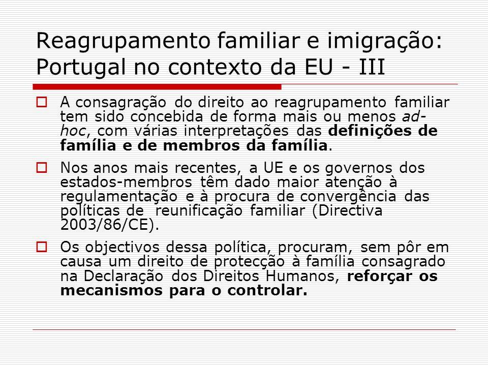 Reagrupamento familiar e imigração: Portugal no contexto da EU - III