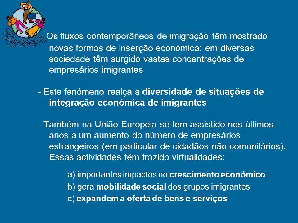 - Os fluxos contemporâneos de imigração têm mostrado novas formas de inserção económica: em diversas sociedade têm surgido vastas concentrações de empresários imigrantes