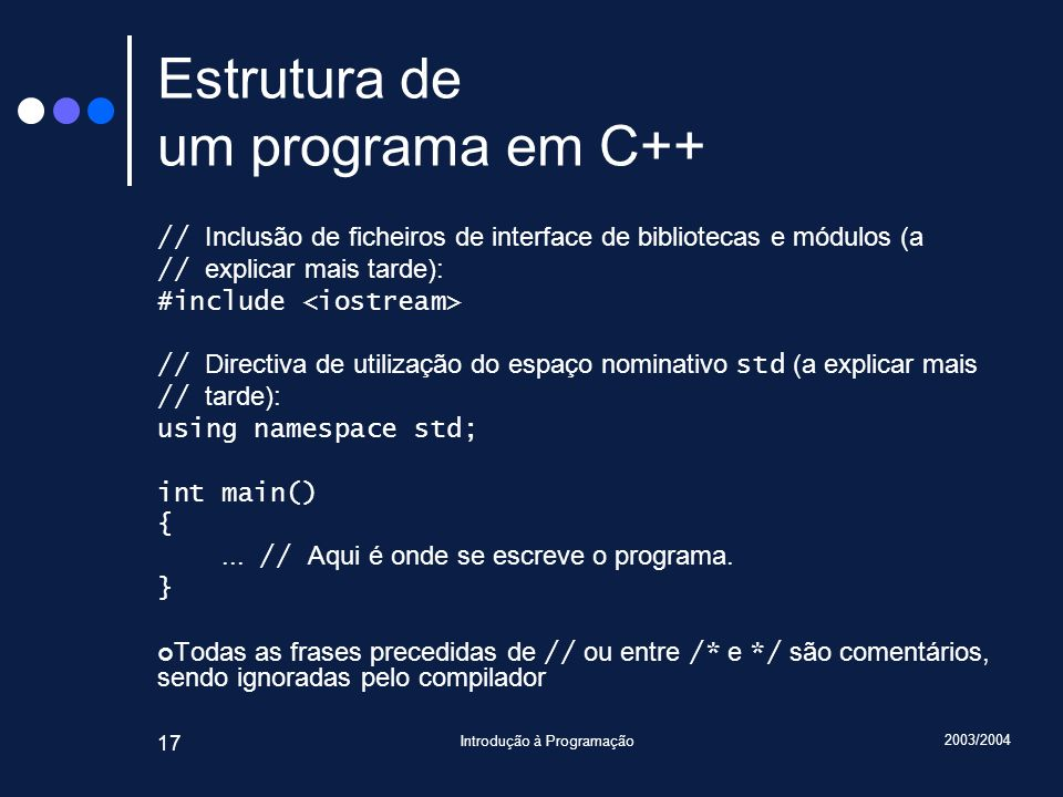 Estrutura de um programa em C++