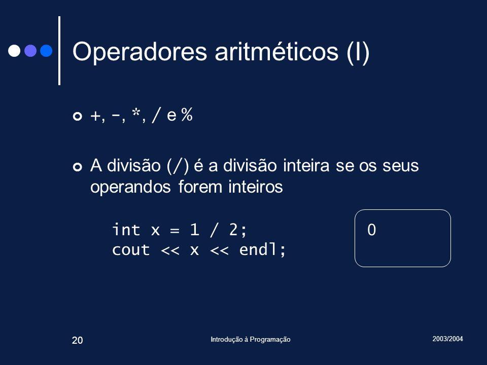 Operadores aritméticos (I)