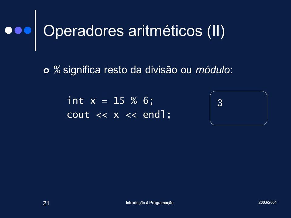 Operadores aritméticos (II)