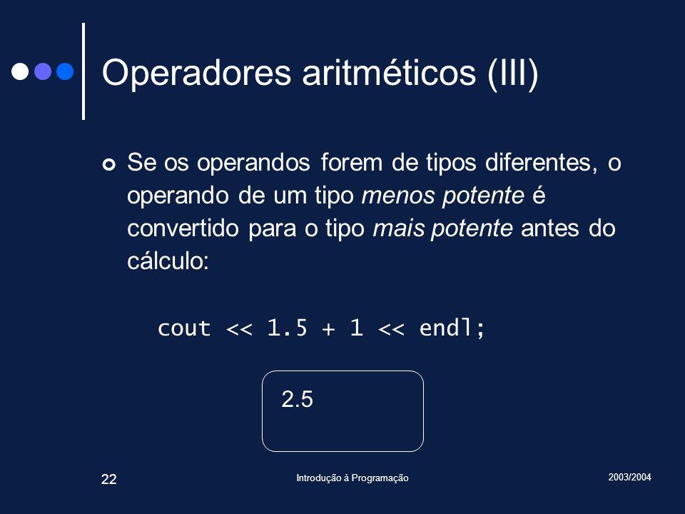Operadores aritméticos (III)