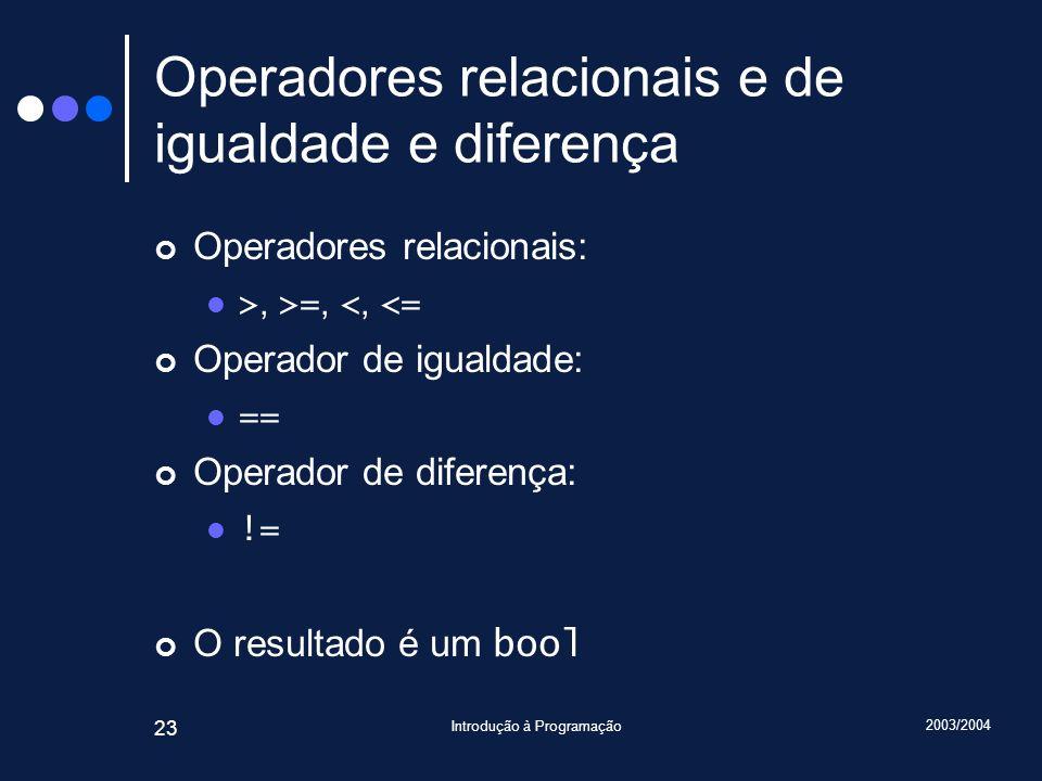 Operadores relacionais e de igualdade e diferença
