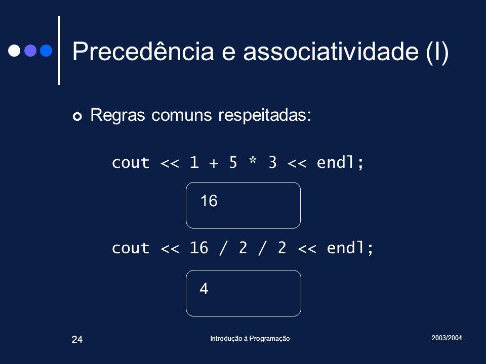 Precedência e associatividade (I)