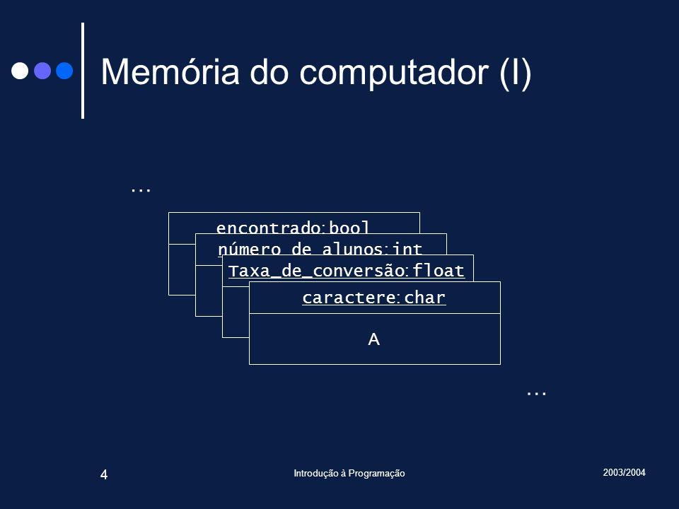 Memória do computador (I)