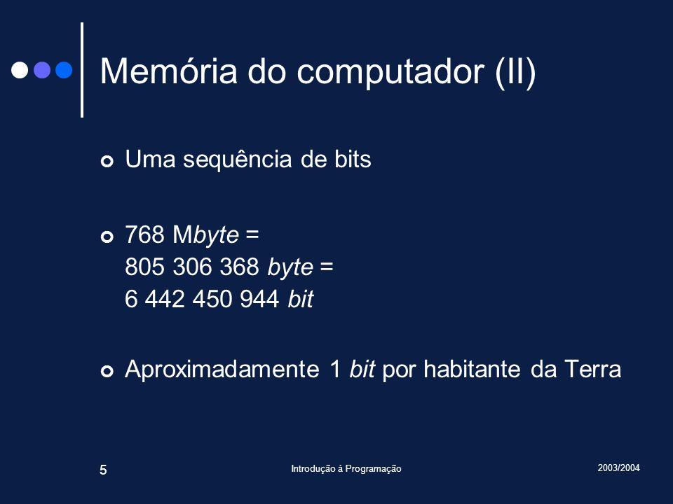 Memória do computador (II)